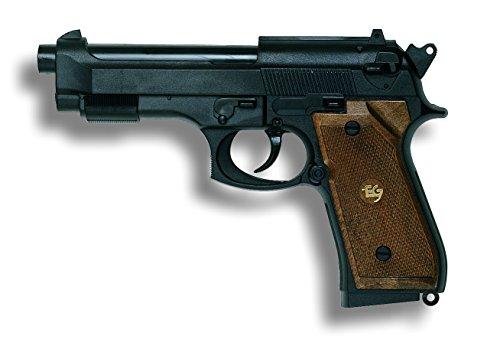 Edison Giocattoli Parabellum: Spielzeugpistole für Zündplättchen, ideal als Faschingsausrüstung, 13 Schuss, auf Hänger, 19.3 cm, schwarz (E0263/34)