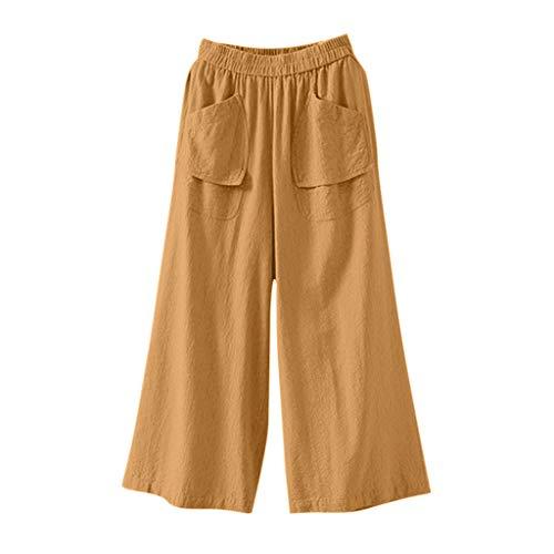 Watopi Frauen Weiten Hose Hosen Casual Baumwolle und Leinen Einfarbige Hosen Lose Hose (Rote Laterne Kostüm Für Verkauf)