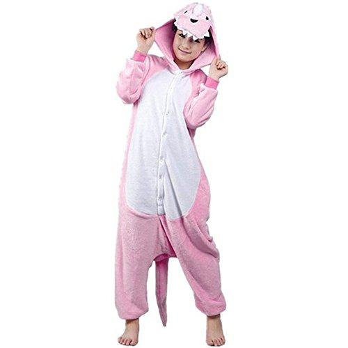 COHO Kigurumi Einteiliger Schlafanzug für Erwachsene, Motiv Dinosaurier, Kostüm, Rosa Small (151-161 cm) (Dinosaurier-kostüm Erwachsenen Diy)