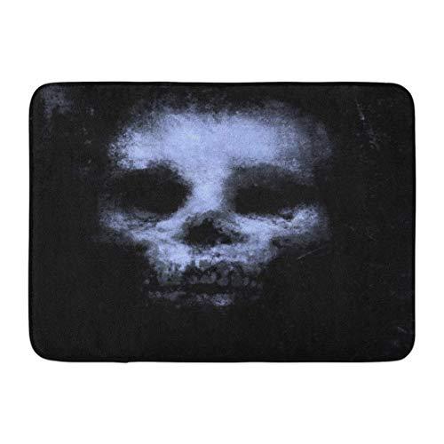 Bad Teppiche Outdoor/Indoor Fußmatte blau Vintage Horror Schädel für Halloween und Film Projekt beängstigend abstrakt schwarz Badezimmer Dekor Teppich Badematte ()