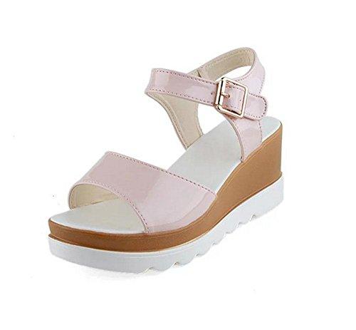 Mme sandales mot de tête de poisson pente sandales boucle avec des sandales à fond épais femmes casual sauvage et confortable Pink