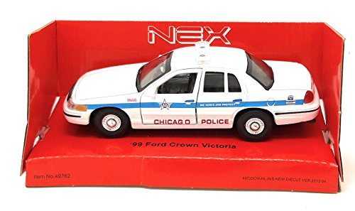 DieCast Metall Miniaturmodell Modellauto 1:36-39 Ford Crown Victoria Chicago Polizei 1999 weiss PKW Welly