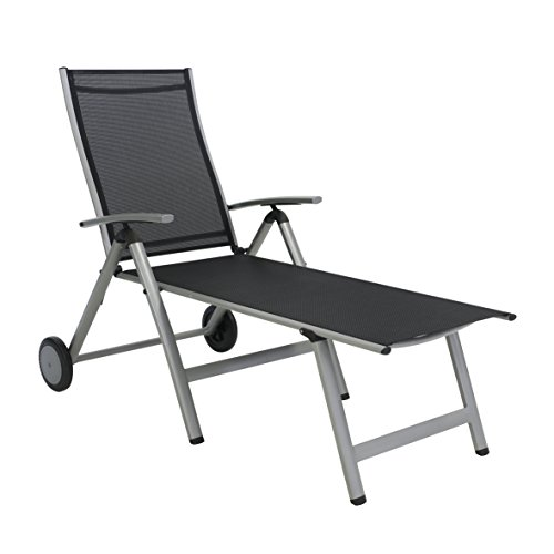 greemotion Rollliege Monza Comfort silber/schwarz, Gartenliege 8-fach verstellbar, platzsparend zu verstauen, Liege mit extra breiter Liegefläche, Artikelmaße: ca. 152 x 77 x 118 cm