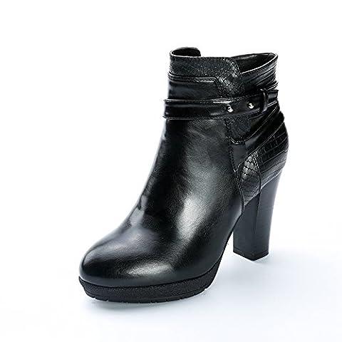 Alexis Leroy Women Croc-effect High Heel Buckle Strap Chelsea Ankle Boots Black 4 UK / 37 EU