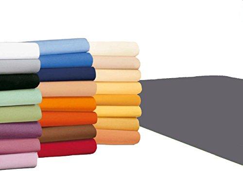 badtex24 Spannbettlaken 90 100 x 200 Spannbetttuch Bettlaken Jersey 100% Baumwolle 20 Farben Anthrazit 90x190-100x200cm
