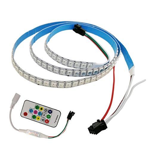 JOYLIT Flexibler LED Streifen Licht RGB WS2812B DC 5V Individuell adressierbar 144 Pixels Traumfarbe IP20 Nicht wasserdicht 144 LEDs 5050 SMD 3.2FT/1m Mit 14Keys RF LED Controller (Park Halloween Dc)