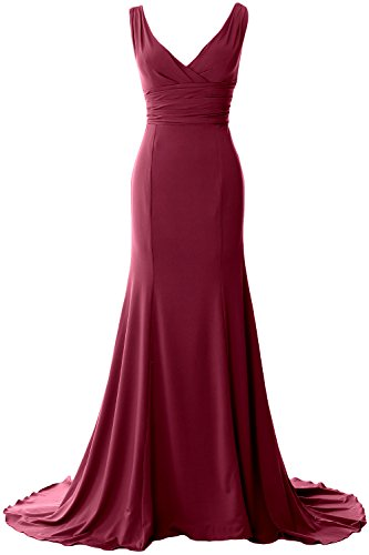 MACloth Elegant Mermaid V-Neck Simple Prom Dress Jersey Evening Formal Gown (Custom Size, Weinrot) (Top Draped Jersey)