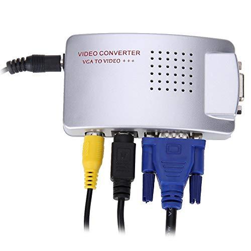Yeshai3369 VGA to TV RCA Composite Converter Adapter Signal S-Video Box für PC Laptop Desktop One Size Silber grau -