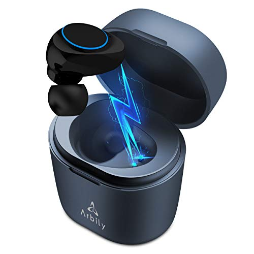 Arbily Mini Bluetooth Kopfhörer, Bluetooth Headset in Ear, Kabellos in Ear Kopfhörer, Bluetooth Freisprech, 18 Stunden Spielzeit, Mono Earbud für Handy Laptop Tablet nur für einen Ohr (Link, Blau)