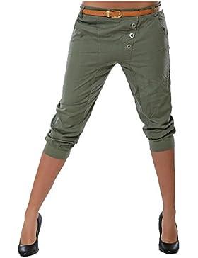 Vdual Mujer Capri Pantalones Chinos 3/4 Harem Pantalones Color Sólido Shorts Sin Correa Pantalones Cortos