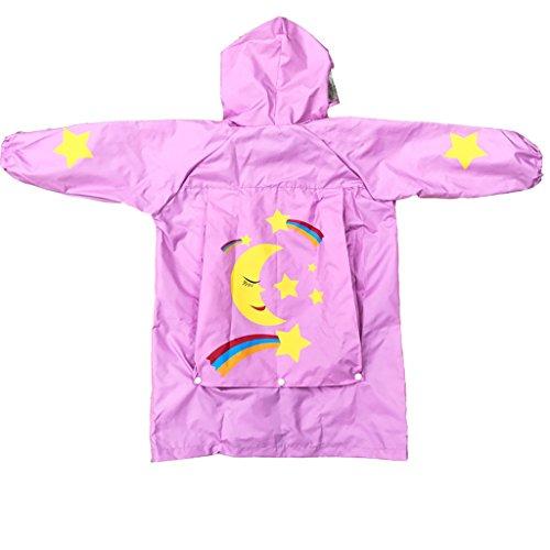 QFF Kind Regenmantel Jungen und Mädchen Big Hat Student Baby Buch Tasche Poncho (Farbe : Pink, größe : S)