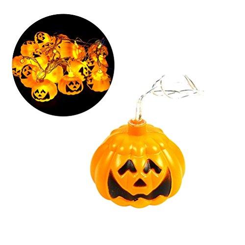 BESTOYARD Kürbis Halloweens Jack O'Lantern für Halloween-Dekoration, Warmes weißes Licht, 3.8M, 16 LED-Lichter