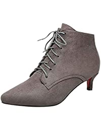 195911ff4a6 Frestepvie Womens Oxfords Kitten Heel Ladies Lace Up Ankle Boots Evening  Dress Work Shoes Pointed Toe Court Shoes Suede Leather Ankle…