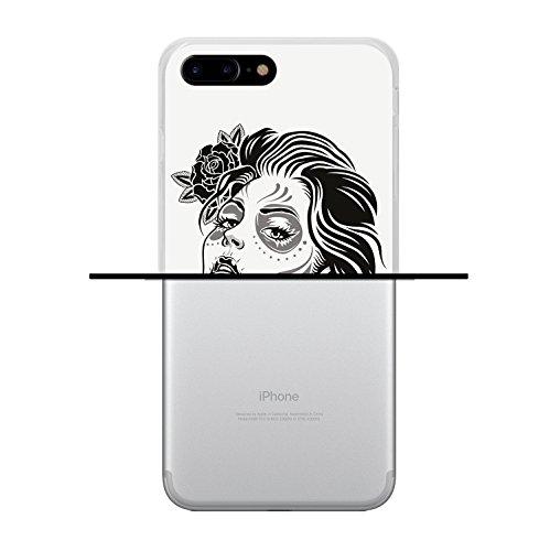 iPhone 7 Plus Hülle, WoowCase Handyhülle Silikon für [ iPhone 7 Plus ] Grau und Rosa Schädel Handytasche Handy Cover Case Schutzhülle Flexible TPU - Schwarz Housse Gel iPhone 7 Plus Transparent D0046