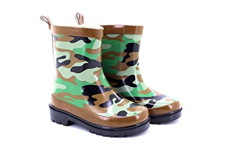 Stormwells Boys Camouflage Print Short Wellington Boots Green/Brown