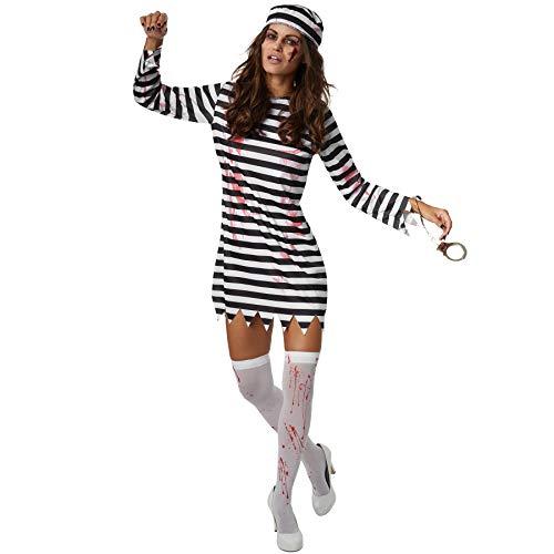 dressforfun 900440 - Damenkostüm Gruselige Sträflingsbraut, Schwarz-weiß Gestreiftes Kleid mit Blutflecken (L | Nr. 302262)