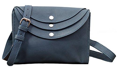LA MINAUDIÈRE Bleu délavé Sac à main cuir pochette femme style vintage PAUL MARIUS