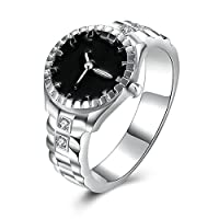 Bishilin Ring for Women Silver Plated Watch Shape Black Promise Wedding Rings Silver Size N 1/2