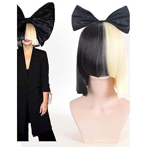 halloween party online sia lebendig dies ist die halbe schwarze blonde kurze perücke mit bowknot zubehör kostüm cosplay perücke (Online Australien Halloween-kostüme)