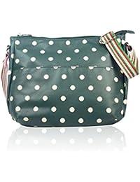 64ac193affa4 Green Polka Dot Spotty Matte Oilcloth Ladies Messenger Fashion Bag Handbag