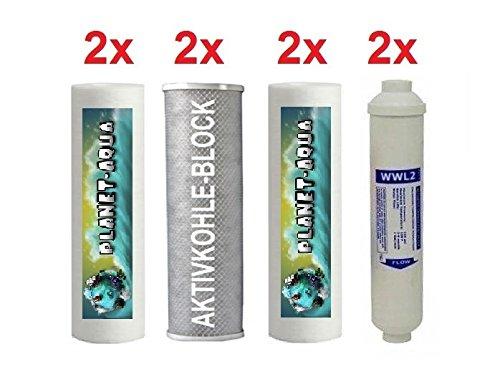1 Jahr Ersatzfilter Set für 5 Stufen Osmoseanlage - 8 Filterpatronen Filterkartuschen für Umkehrosemose Wasserfilter Filteranlage Sediment Aktivkohle Kartuschen Patronen Aquariumfilter Filter Pumpe