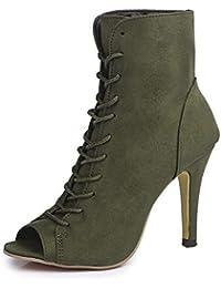 Zapatos con Flecos Botas Al Tobillo Botas de Mujer EN Negro //Botas con Tacón