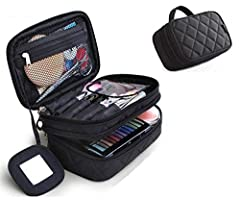 Idea Regalo - Trousse Make Up, Borsa Cosmetica, ONEGenug Borsa Make Up 20 * 12 * 8 cm Doppio Strato con Specchio per le Donne Nero