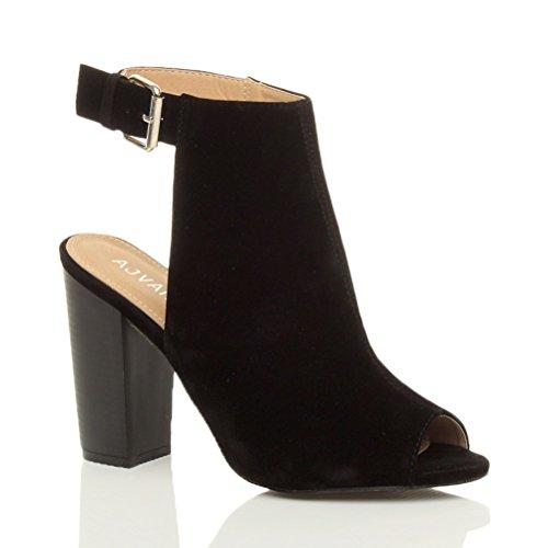 Damen Hoch Absatz Peep Toe Ausgeschnitten Schnalle Schuh Steifeletten Größe Schwarz Wildleder