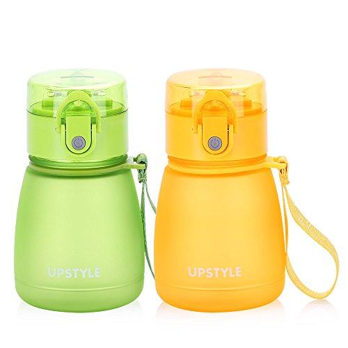 UPSTYLE BPA-frei Kinder Mini Wasser Botter mit Stroh auslaufsicher Scrub Kunststoff Sport Wasser Flasche Reise Tasse Saft Tasse für Kinder, 10oz (300ml), PC510 Green+Yellow (Kinder Stroh Tassen Bpa Frei)