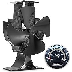 Vonhaus Ventilateur pour Poêle à 4 pales - Alimenté à la Chaleur à Bois/bûches - Aluminium Noir