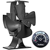 VonHaus 4 Blade Stove Fan – Quiet, Heat Powered Wood/Log Burner Fan - Eco Friendly Heat Circulation for Fireplaces - 150-190 CFM