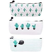 WeiMay Set di 3 astucci porta penne/cosmetici, motivo cactus