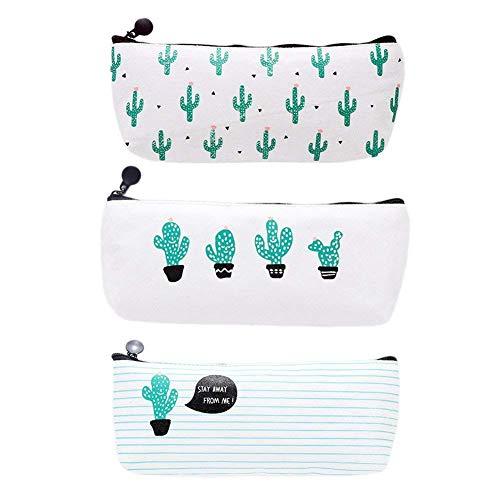 WeiMay 3x Federmäppchen Stifte Tasche Mode Kaktus Muster Leinwand Briefpapier Pencil Case Bleistift Hülle Makeup Tasche