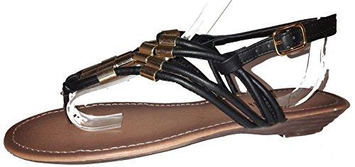 Sexy sandales femmes, tongs flip flop pour l été et les vacances, beige, marron, blanc, bleu, rouge, noir-or, rosé-rouge ou léopard, modèle 11064105006001, différents modèles et tailles. Noir-or.