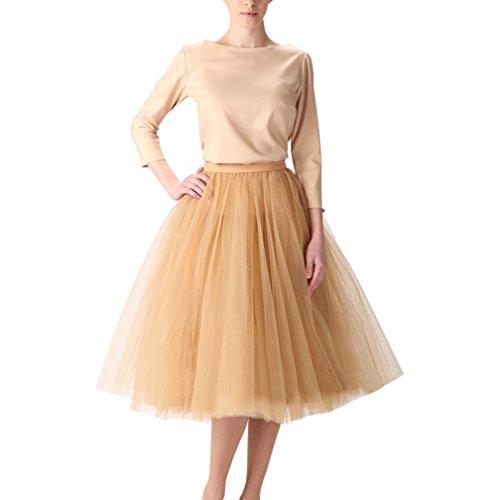 Wedding Lady - Abito da donna, gonna al ginocchio, tutù in tulle da sposa Oro