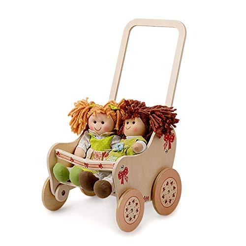 Dida - passeggino in legno per bambole - decoro: fiocco