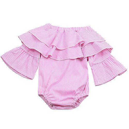 Chennie Neugeborenes Kleinkind-Mädchen-Rüsche-Streifenspielanzug-Bodysuit Princess Outfits (Color : Pink, Size : 6-12M) Pink Princess Outfit