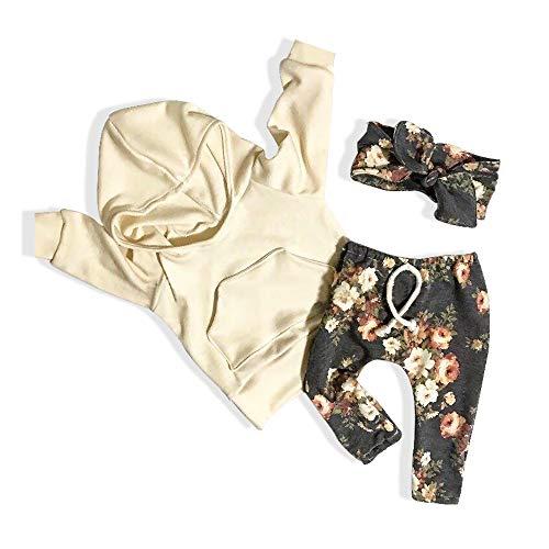 Sfuzwg Säuglingsbaby-Mädchen-mit Kapuze Strickjacke-Hosen-Stirnband 3PCS stellt mit Taschen-Toddle BlumenSweatshirt EIN