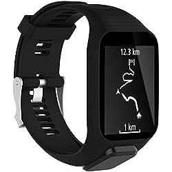 Correa de silicona de repuesto para reloj deportivo GPS TomTom Runner 2, Runner 3, Spark 3, Adventurer, Golfer 2, de Kobwa, color negro
