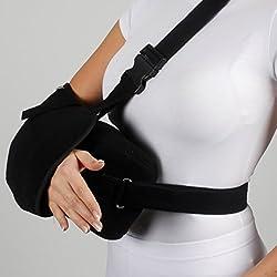 ArmoLine Deluxe - Brazalete acolchado transpirable para adultos, brazo negro roto para muñeca rota, hombro inmovilizador