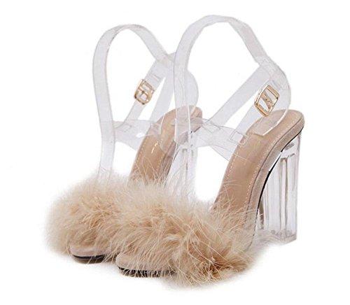 GLTER Donne Pumps Open Toe Temperamento peluche di cristallo Tacchi alti sandali slingback Pumps Nero Beige Rosa apricot