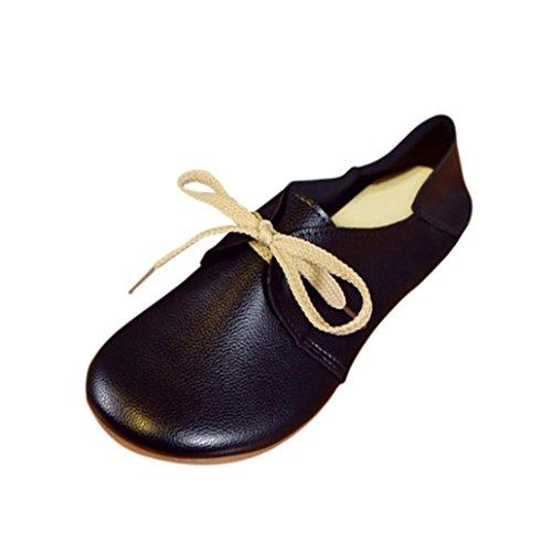 TPulling Herbst Und Winter Frühling Modelle Schuhe Mode Damen Frau Feste Farbe Bequeme Flache Einzelne Schuhe Peas Schuhe Wärme Outdoor Booties Ankle Lässige Schuhe Martin Stiefe (38, Schwarz) (Keil-ballett-schuhe Für Frauen)