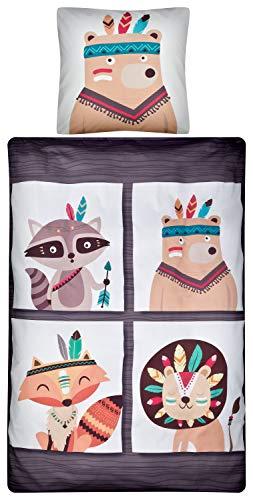 Aminata Kids - Kinder-Bettwäsche-Set 135-x-200 cm Indianer-Motiv Zoo-Tiere Fuchs Waschbär 100-% Baumwolle Renforce braun-e beige
