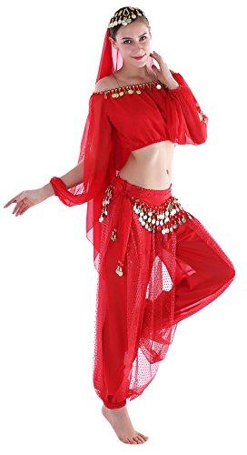 faschingskostueme bollywood Bollywood Bauchtanz Fasching Kostüm Indische Kleidung Karnevalkostüm Hose Langärmeliges Oberteil Rot