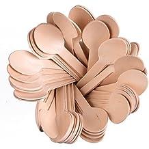 """100PC conjunto de 6""""de madera desechables spoons- 100cuchara paquetes son biodegradables compostables reciclable ecológico utensilios para fiestas, picnics, bodas, barbacoas y más"""