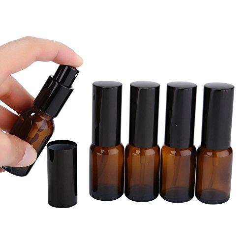 niceEshop(TM) 6 Stück Amber Glass Spray Flaschen, 0.5 Unze (15ml) mit Plastic Black Fine Mist Sprayers, Staub Caps-Perfekt für Verschiedene Verdünnungen von Flüssigkeit