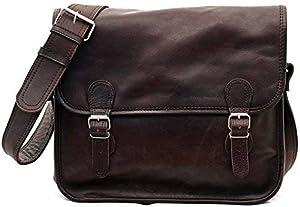 Bolso bandolera de piel PAUL MARIUS - LA SACOCHE INDUS, estilo vintage & retro, color marrón oscuro