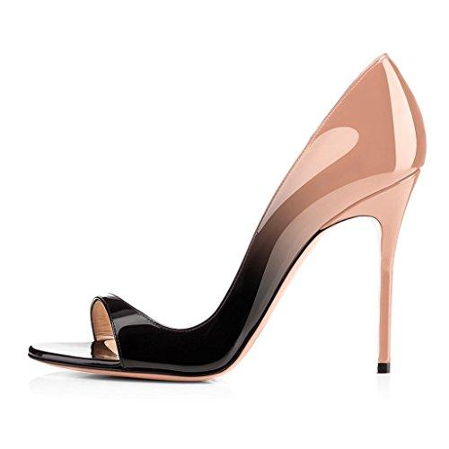 ELASHE - Scarpe da Donna - 12CM Peep Toe Sandali - Tacco a Spillo - Classiche Scarpe col Tacco Nero-Beige EU37