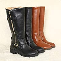 Camfosy Womens Winter Knee Boots,Fashion Ladies Snow Long Boots with Faux Fur Lined Flat Block Heel Warm Shoes Knee-High Ankle Riding Boots Side Zipper 2018,Brown