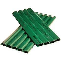 24 Stück PVC - Sichtschutzstreifen - Klemmschienen - Sichtschutz/ Windschutz für Garten und Zaun - Befestigungsclips - Doppelstabmattenzaun - Moosgrün Universal